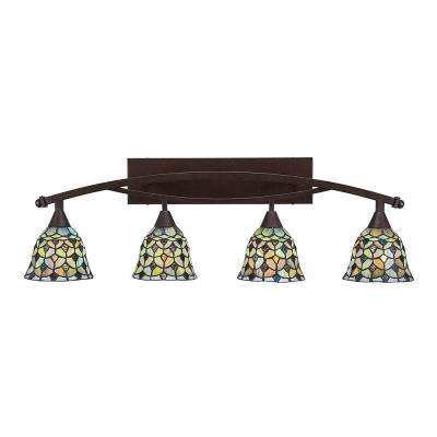 4-Light 40 in. Bronze Vanity Light with 7 in. Crescent Tiffany Glass
