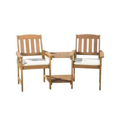 Cala Cream and Honey Oak 2-Piece Meranti Patio Deep Seating Set with Cream Cushions