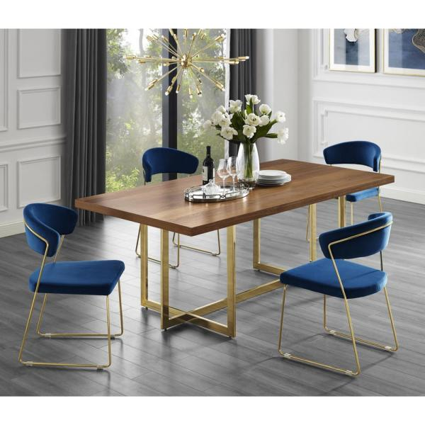 Inspired Home Davian 70.8 in. Walnut Wood Veneer Dining Table with