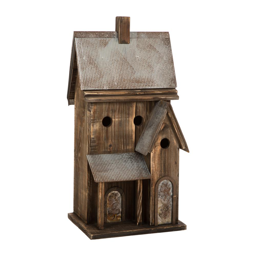 24.02 in. H Rustic Wood Natural Birdhouse with Galvanized Metal Roof