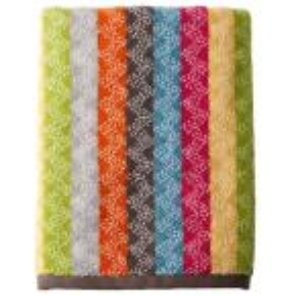 Ribbons Cotton Single Bath Sheet in Multi