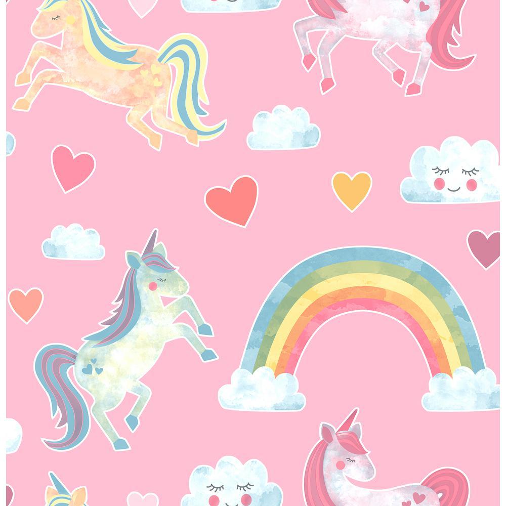 Brewster Elora Pink Unicorn Wonderland Sample Pink Wallpaper Sample Hn002656sam The Home Depot