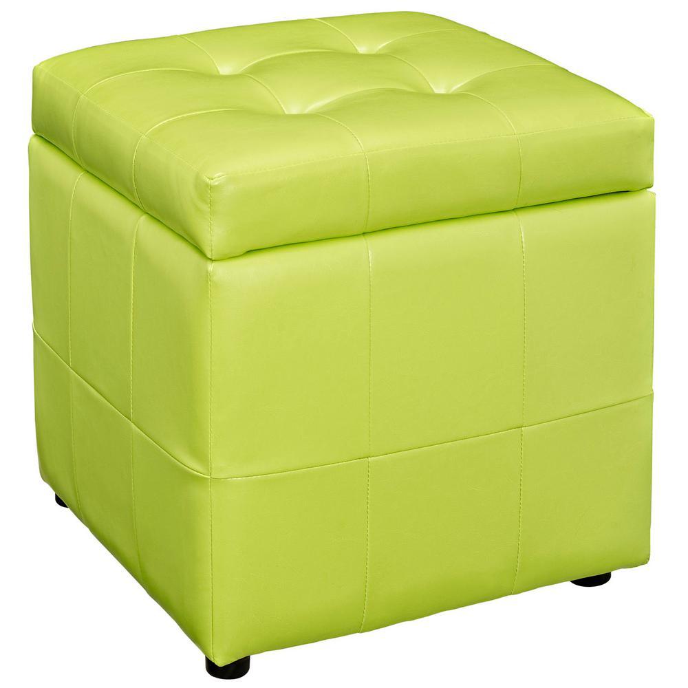 MODWAY Light Green Volt Storage Upholstered Vinyl Ottoman