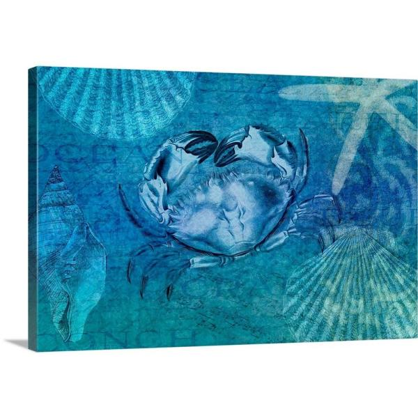 Greatbigcanvas White Crab By Cora Niele Canvas Wall Art 2484511 24 24x16 The Home Depot