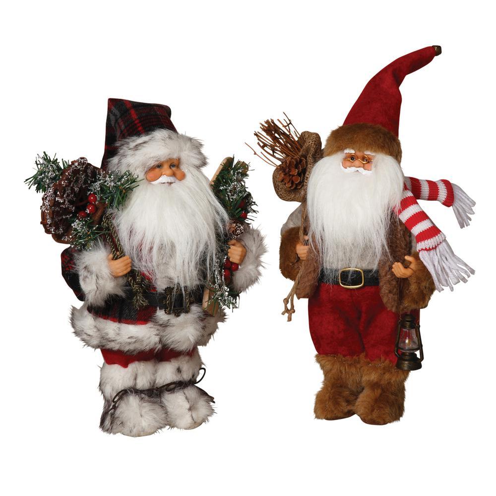 S/2 Asst 12 in. H Woodland Santas