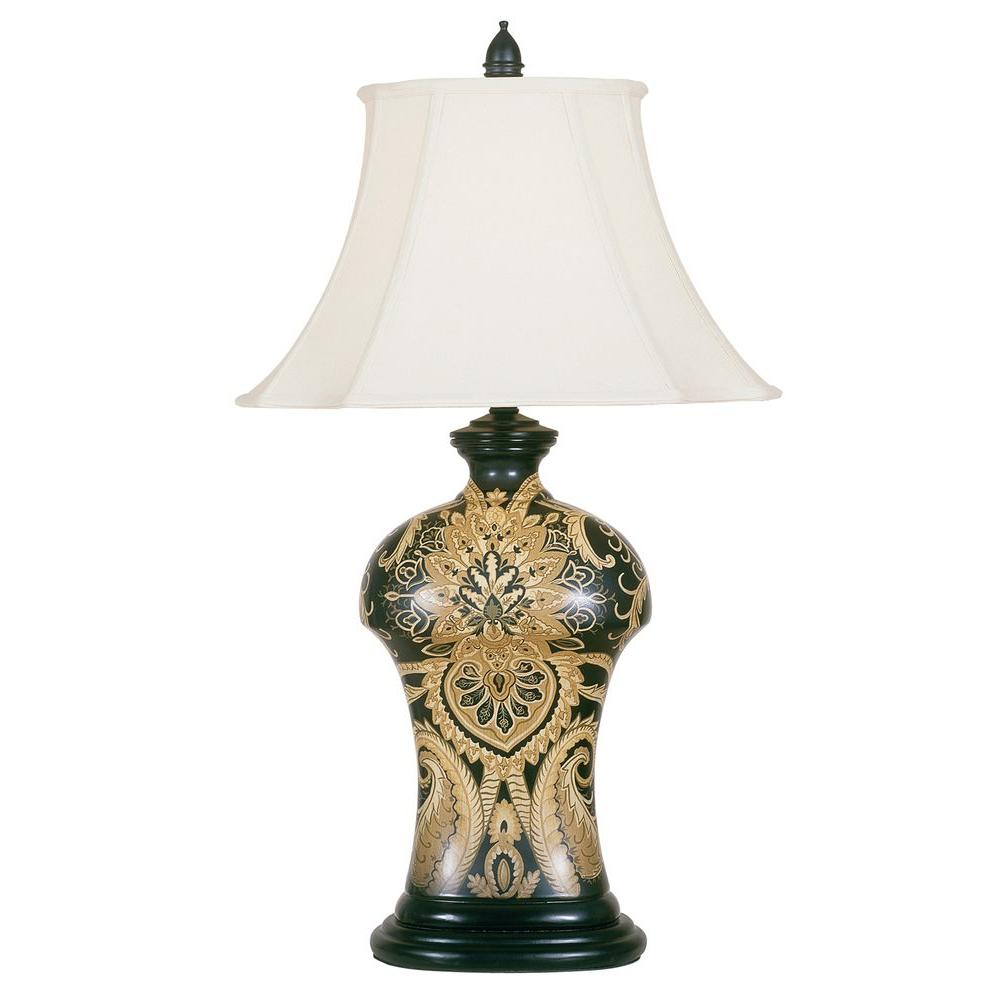 null 30.5 in. Black Table Lamp with Shade