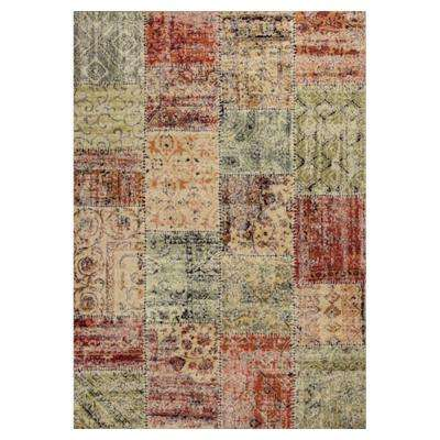 Vintage Patchwork Red/Beige 5 ft. x 8 ft. Area Rug