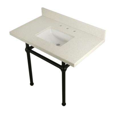 Square-Sink Washstand 36 in. Console Table in White Quartz with Metal Legs in Matte Black