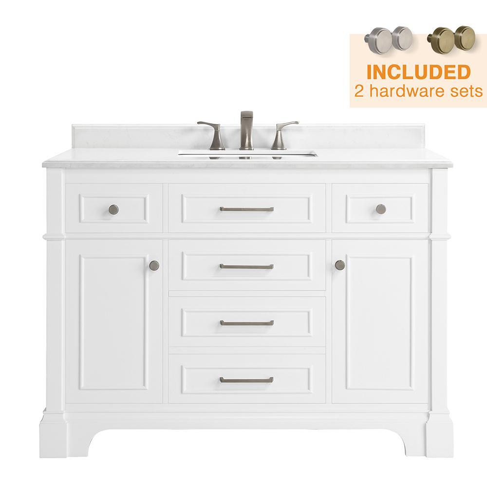 Melpark 48 in. W x 22 in. D Bath Vanity in White with Cultured Marble Vanity Top in White with White Sink