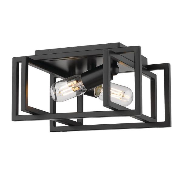 Tribeca 11.5 in. 2-Light Black with Black Accents Flush Mount