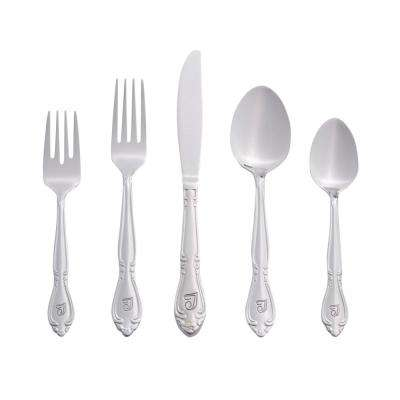 Rose Monogrammed Letter T 46-Piece Silver Stainless Steel Flatware Set
