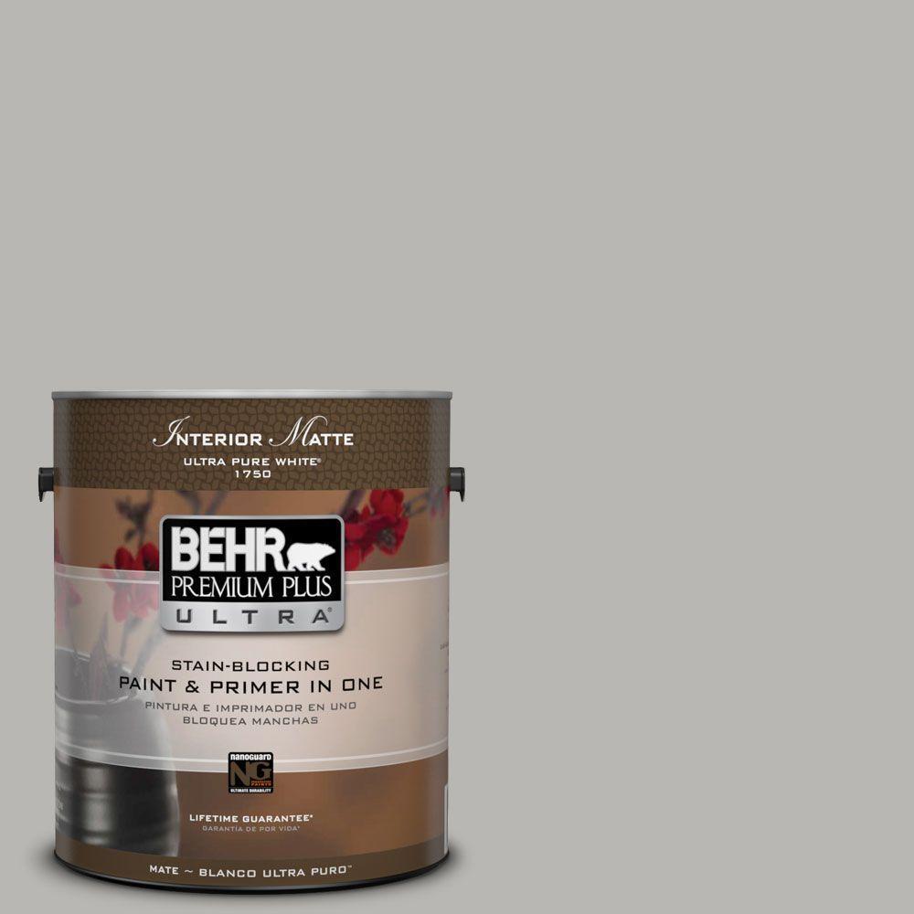 BEHR Premium Plus Ultra Home Decorators Collection 1 gal. #HDC-MD-26 Sonic Silver Flat/Matte Interior Paint
