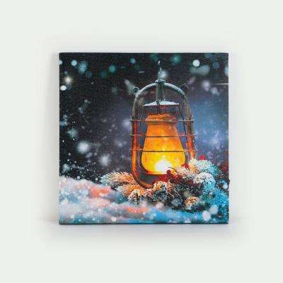 16 in. Holiday Lantern Canvas Print with LED Lights