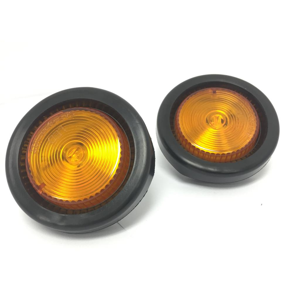 Mahaul 2 In Led Round Clearance Side Marker Light Amber With Grommet Trailer Truck Rv Pack