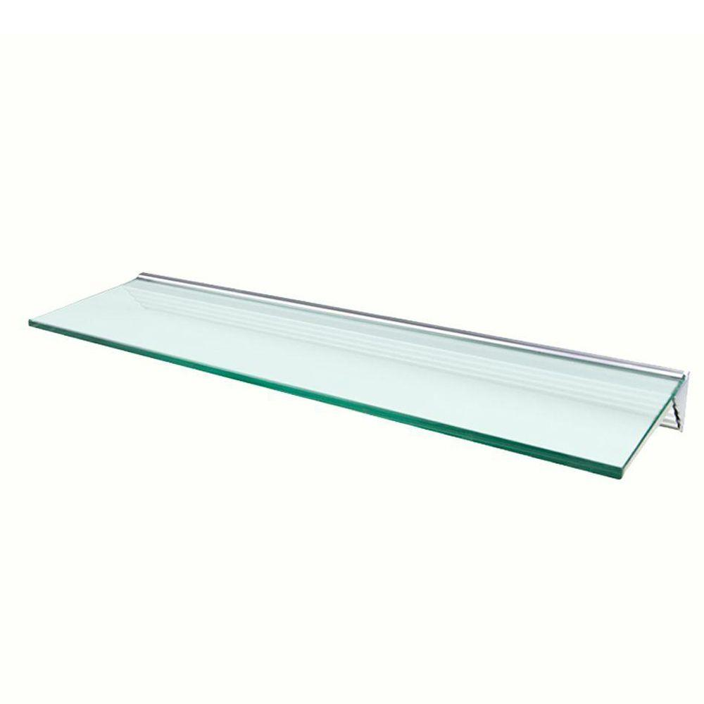 Wallscapes Glacier Opaque Glass Shelf with Silver Bracket Shelf Kit (Price Varies By Size)