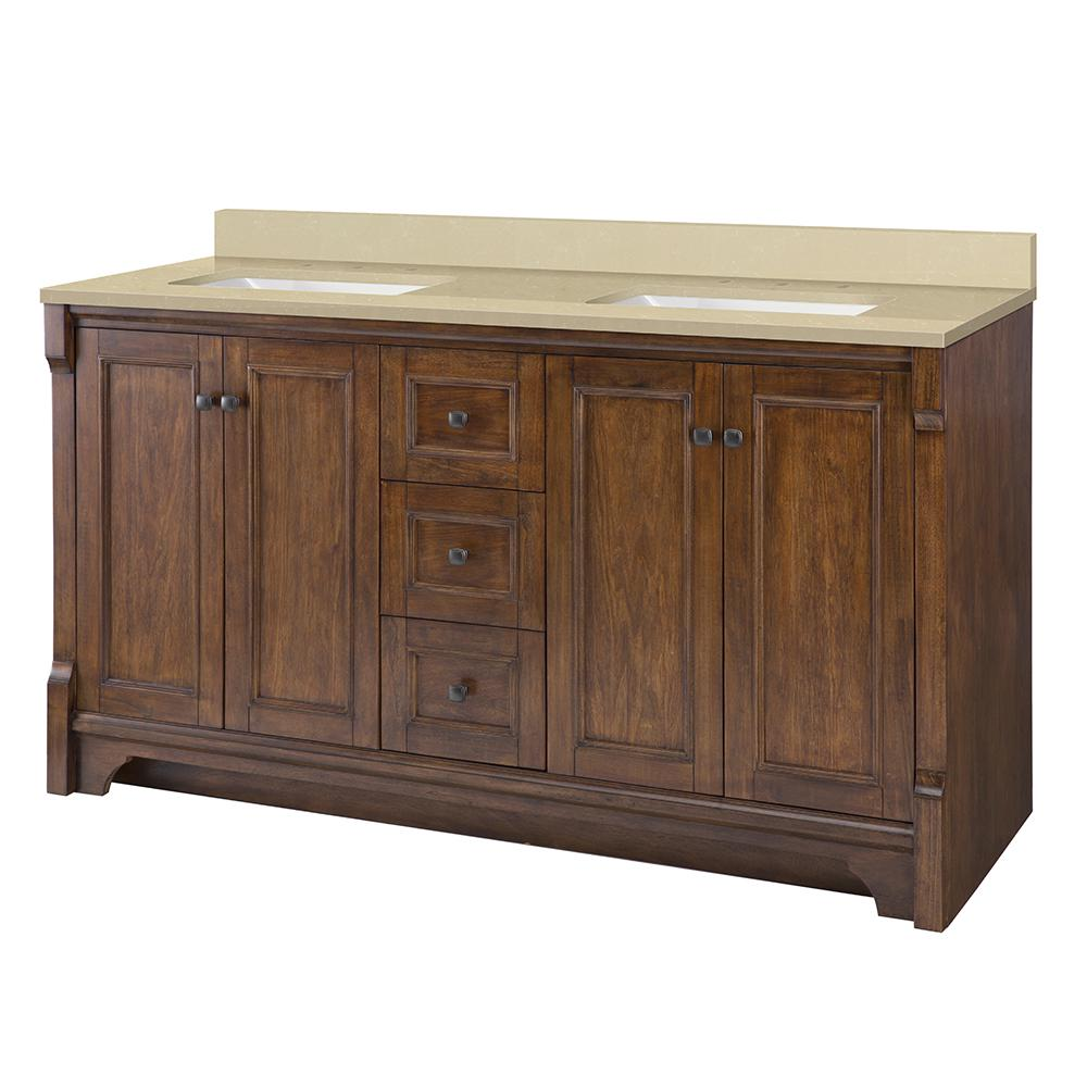Home Decorators Collection Creedmoor 61 in. W x 22 in. D Vanity in Walnut with Engineered Marble Vanity Top in Crema Limestone with White Sink