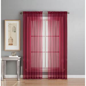 Window Elements Sheer Sheer Elegance 84 inch L Rod Pocket Curtain Panel Pair, Burgundy (Set of 2) by Window Elements