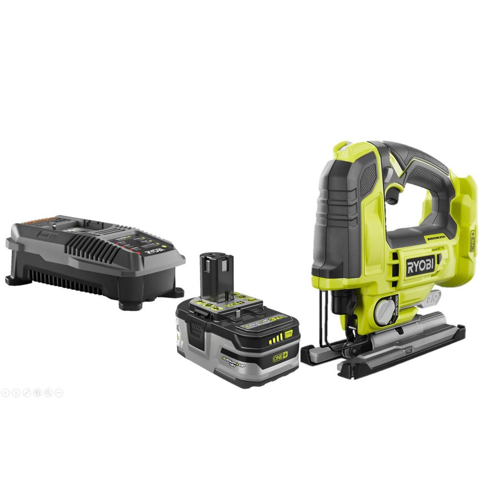 RYOBI 18-Volt ONE+ Cordless Brushless Jig Saw with 3.0 Ah LITHIUM+ HP Battery and 18-Volt Charger