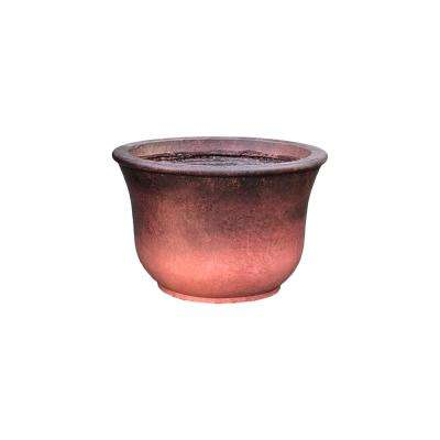 14.96 in. x 9.84 in. H Red Lightweight Concrete Short Vibrant Ombre Tulip Medium Planter