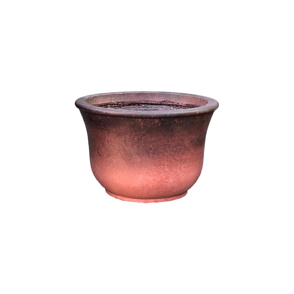 14.96 in. x 9.84 in. H Red Lightweight Concrete Short Vibrant Ombre Tulip Medium Planter