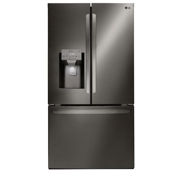LG Electronics 27.9 cu. ft. French Door Smart Refrigerator with WiFi Enabled in Black Stainless Steel