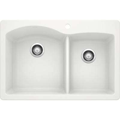 DIAMOND Dual Mount Granite Composite 33 in. 1-Hole 60/40 Double Bowl Kitchen Sink in White
