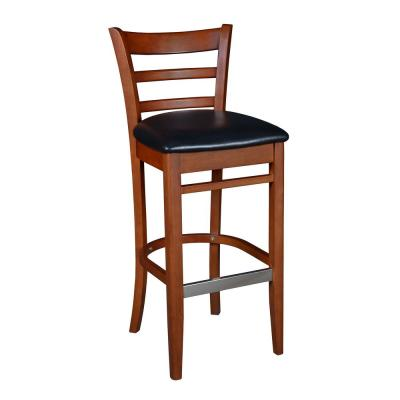 Zoe 42 in. Cherry/Black Wood Caf Chair