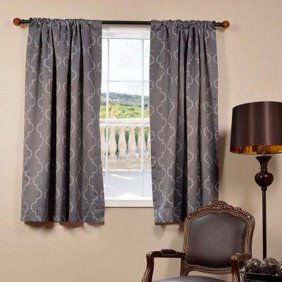 Blackout Seville Grey and Silver Blackout Curtain - 50 in. W x 63 in. L (Panel)