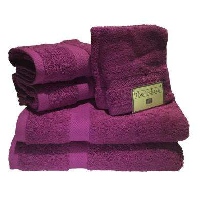 Deluxe 6-Piece Cotton Terry Bath Towel Set in Magenta