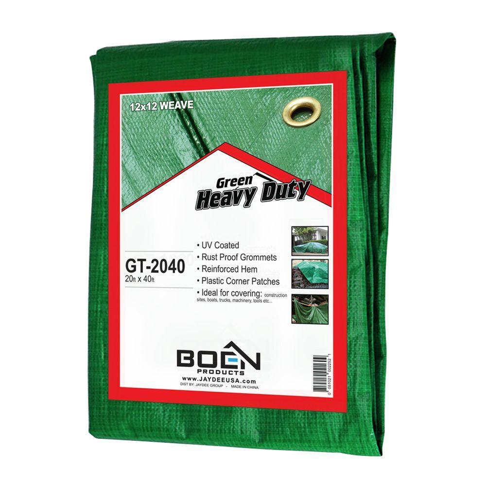 20 ft. x 40 ft. Poly Heavy Duty Green Tarp
