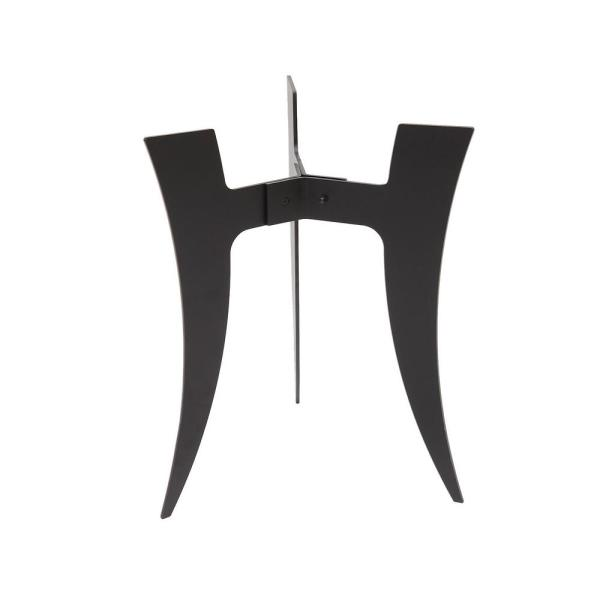 18 in. Tall Black Powder Coat Iron Large Indoor Outdoor Ibex II Plant Stand with Curved Legs