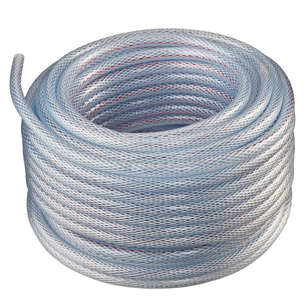 3/4 in. I.D. x 1 in. O.D. x 50 ft. Braided Clear Non Toxic, High Pressure, Reinforced PVC Vinyl Tubing