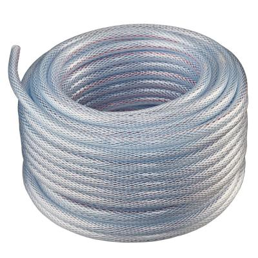 1 in. I.D. x 1 1/4 in. O.D. x 100 ft. Braided Clear Non Toxic, High Pressure, Reinforced PVC Vinyl Tubing