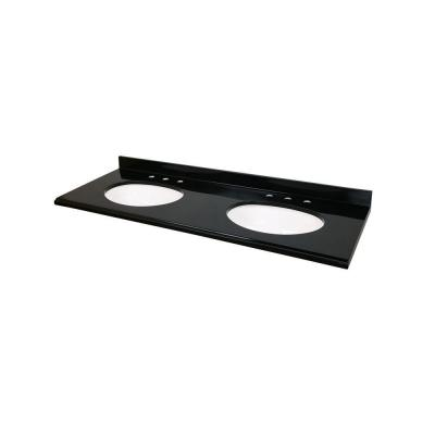61 in. x 22 in. Colorpoint Double Bowl Vanity Top in Black