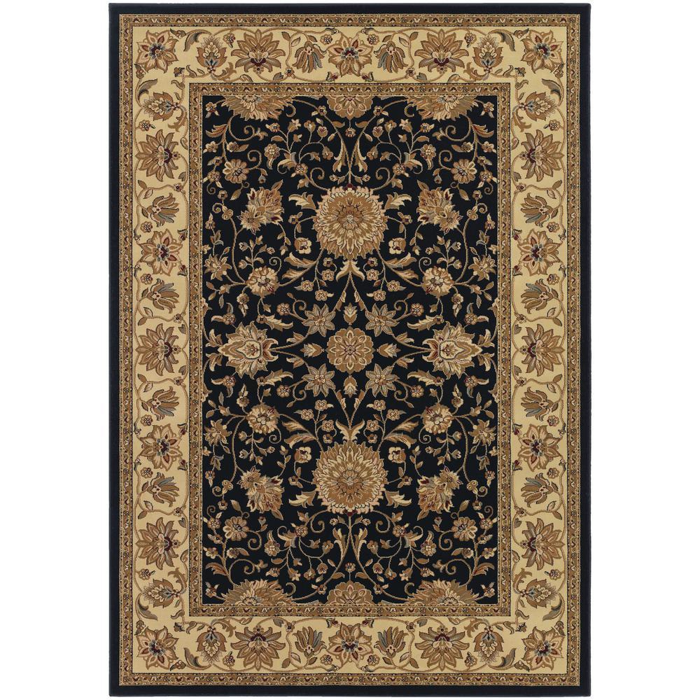 Couristan Izmir Floral Isfahan Black 5 ft. x 8 ft. Area Rug