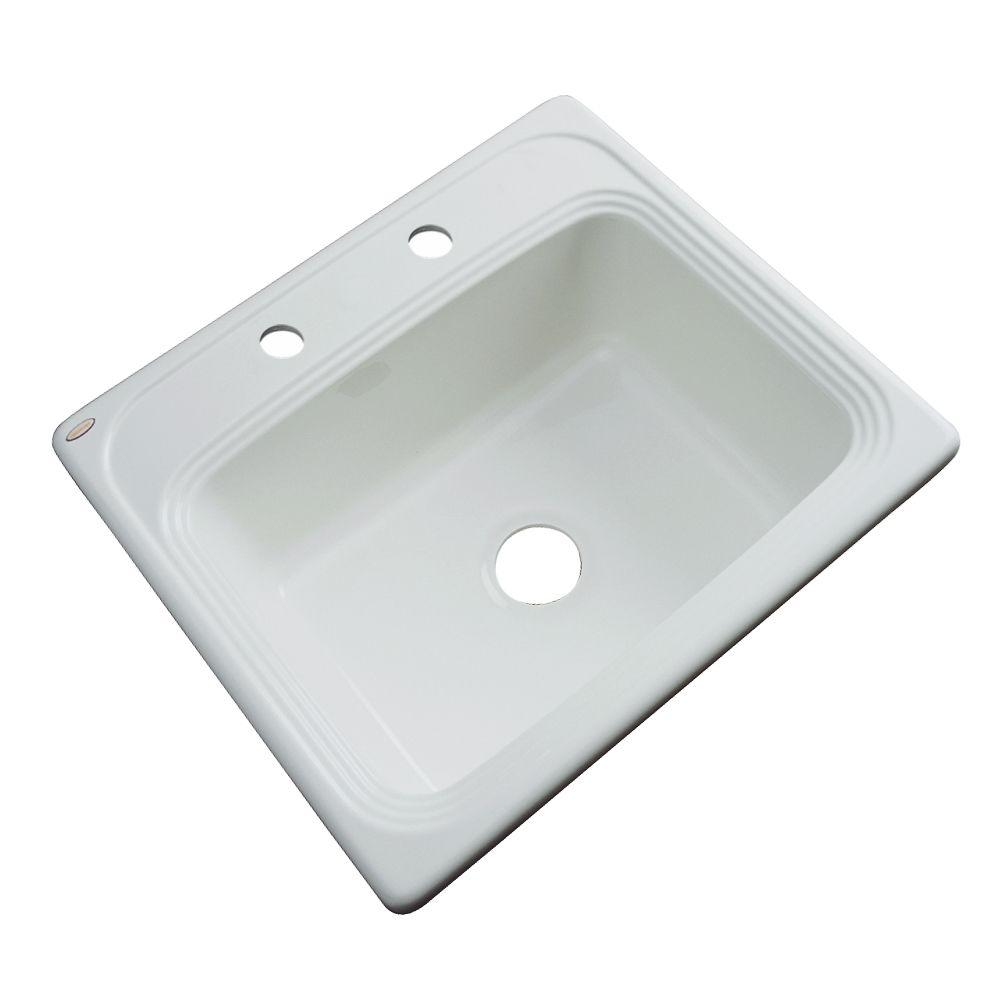 Thermocast Wellington Drop-In Acrylic 25 in. 2-Hole Single Bowl Kitchen Sink in Ice Grey