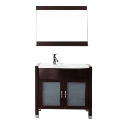 Virtu USA Ava 36 in. W Bath Vanity in Espresso with Stone Vanity Top in White with Round Basin and Mirror and Faucet