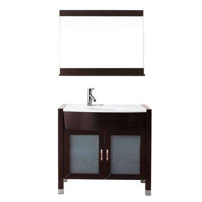 Ava 36 in. W Bath Vanity in Espresso with Stone Vanity Top in White with Round Basin and Mirror and Faucet