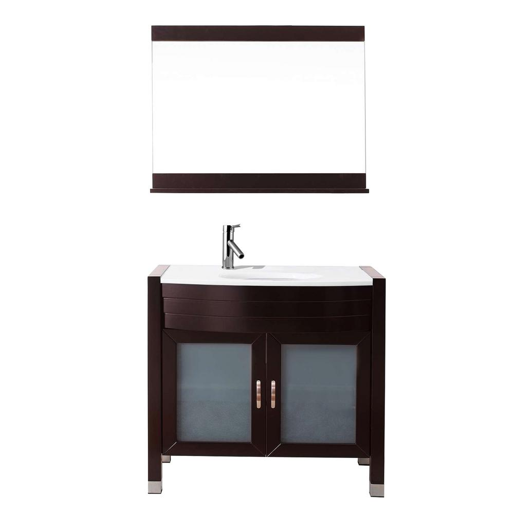 Ava 36 in. W Bath Vanity in Espresso with Stone Vanity