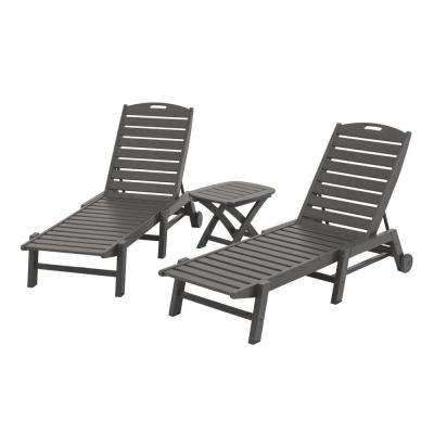 Nautical Slate Grey 3-Piece Patio Chaise Set