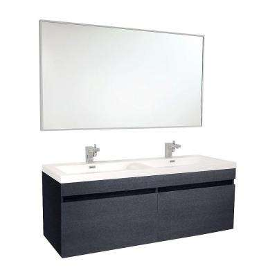 Largo 57 in. Double Vanity in Black with Acrylic Vanity Top in White with White Basins and Mirror