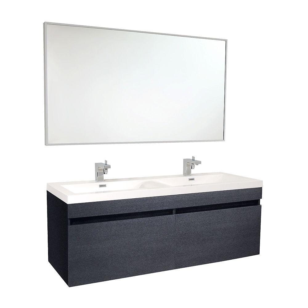 Largo 57 in. Double Vanity in Black with Acrylic Vanity Top