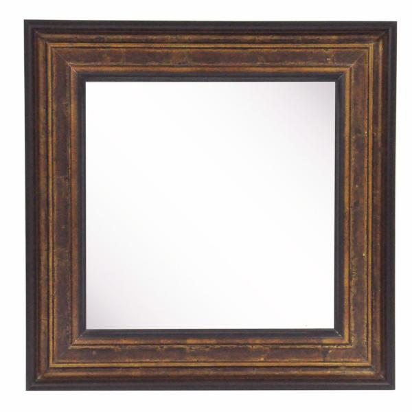 20.75 in. x 20.75 in. Bronze and Black Square Vanity Wall Mirror