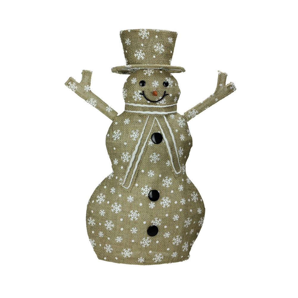 24 in. Lighted Natural Snowflake Burlap Standing Snowman Christmas Outdoor
