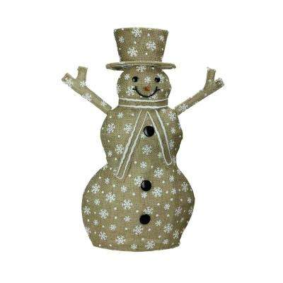 24 in. Lighted Natural Snowflake Burlap Standing Snowman Christmas Outdoor Decoration
