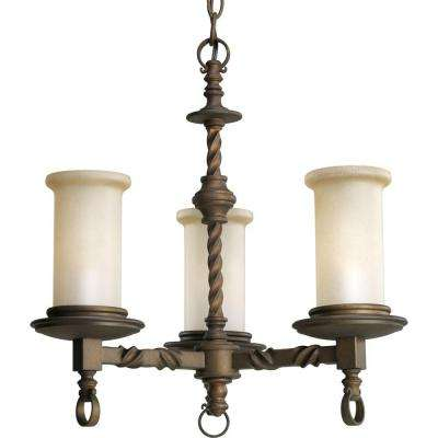 Santiago Collection 3-Light Roasted Java Chandelier with Jasmine Mist Glass