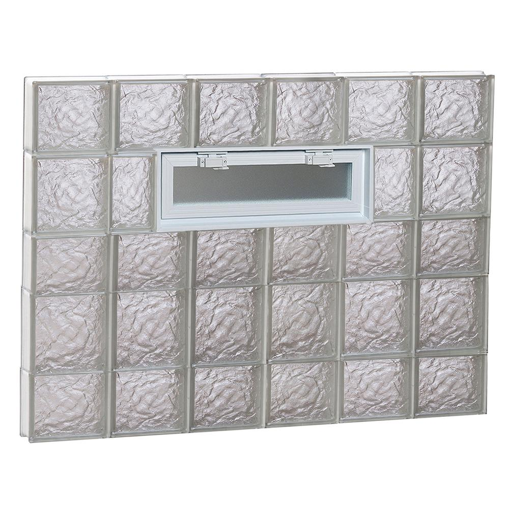Clearly Secure 46.5 in. x 32.75 in. x 3.125 in. Frameless Ice Pattern Vented Glass Block Window