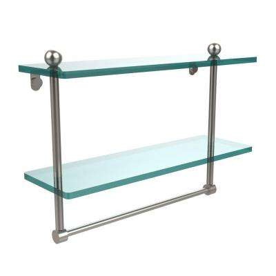 16 in. L  x 12 in. H  x 5 in. W 2-Tier Clear Glass Bathroom Shelf with Towel Bar in Satin Nickel