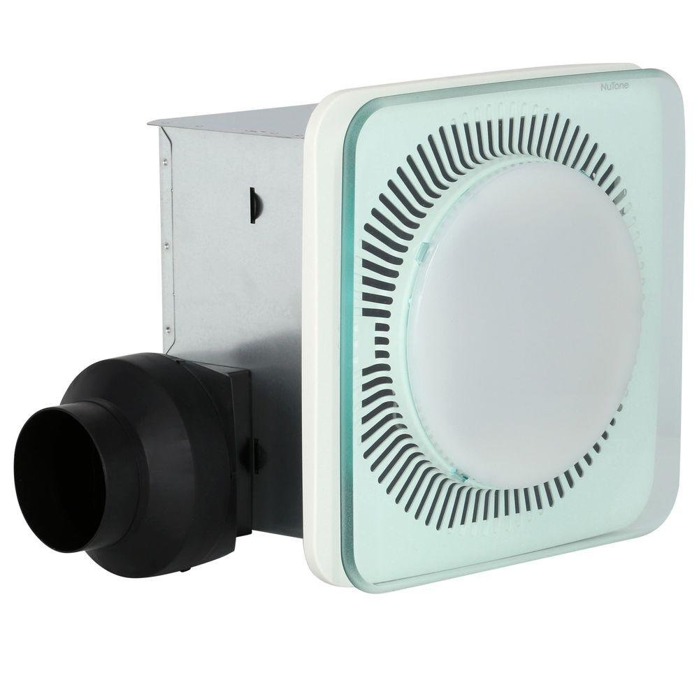 NuTone LunAura Square Panel Decorative White 110 CFM Bathroom Exhaust Fan  With Light And Blue LED