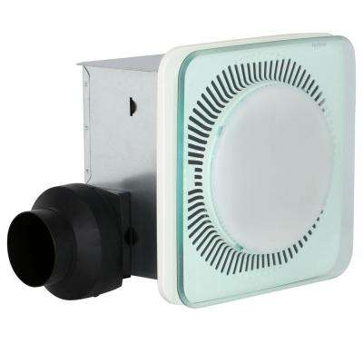 LunAura Square Panel Decorative White 110 CFM Bathroom Exhaust Fan with Light and Blue LED Night Light, ENERGY STAR*